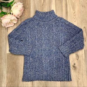 Blue & White Cable Knit Turtleneck Caslon Sweater